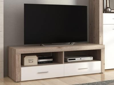 "2 Drawer TV Stand, ""Oak and White"", 135 cm - Prato"