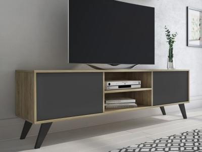 Modern TV stand on high inclined legs - Lucca. Oak and grey colour