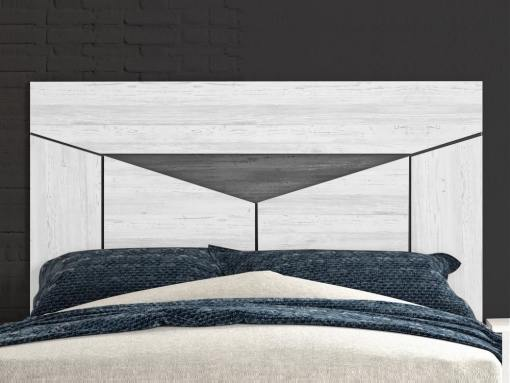 Cabecero moderno - Rubi. Color gris claro con triángulo gris