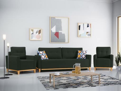 Conjunto de 2 sillones y un sofá cama con patas de madera y arcón. Color verde oscuro - Monaco