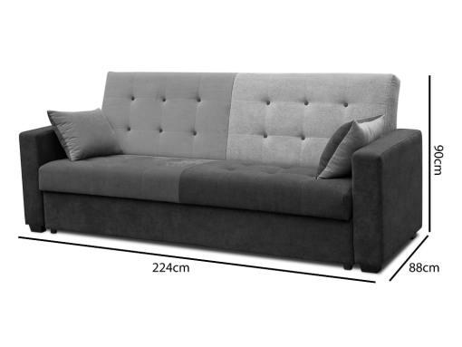 Medidas. Sofá cama tapizado en tela de 4 colores - Art