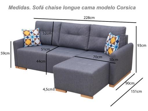 Medidas. Sofá chaise longue cama (derecho) con arcón - Corsica