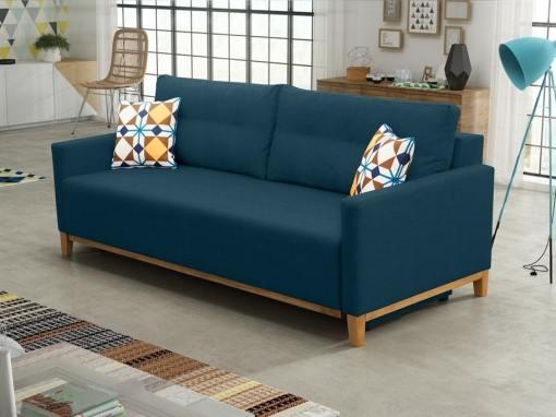Sofa bed with wood legs and storage - Monaco. Dark blue fabric
