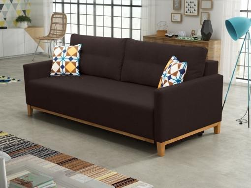 Sofa bed with wood legs and storage - Monaco. Dark brown fabric
