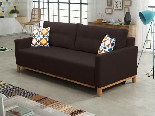 Sofá cama con patas de madera y arcón - Monaco. Color marrón oscuro