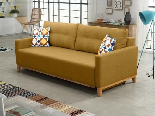 """Sofa bed with wood legs and storage - Monaco. """"Gold"""" colour fabric"""