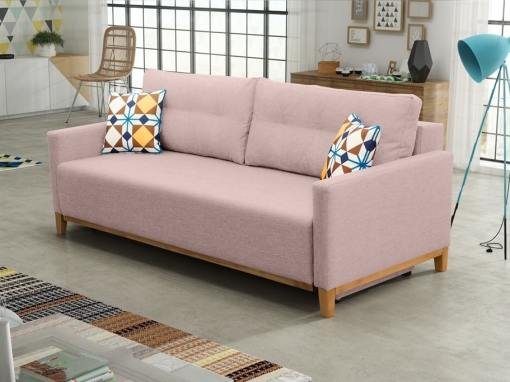 Sofa bed with wood legs and storage - Monaco. Pink fabric