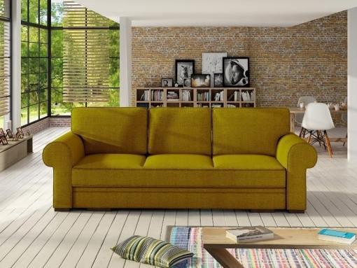 Sofá cama grande estilo clásico con arcón modelo Lancaster. Color Oro