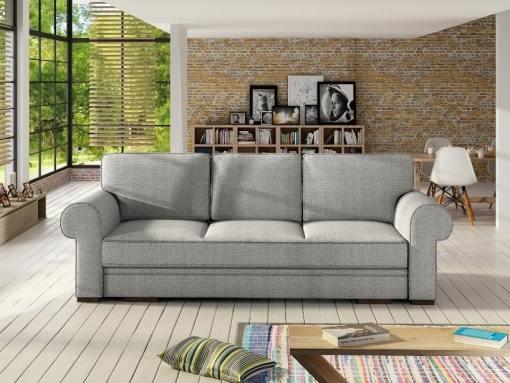 Sofá cama grande estilo clásico con arcón modelo Lancaster. Color gris claro