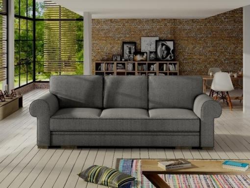 Sofá cama grande estilo clásico con arcón modelo Lancaster. Color gris