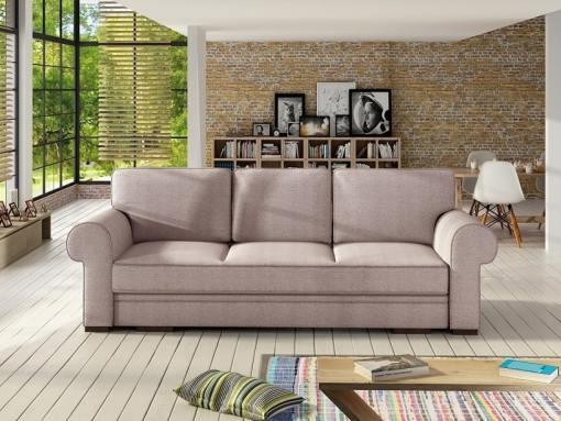 Sofá cama grande estilo clásico con arcón modelo Lancaster. Color rosa