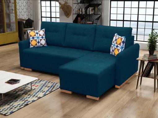 Sofá chaise longue cama (derecho) con arcón - Corsica. Azul oscuro