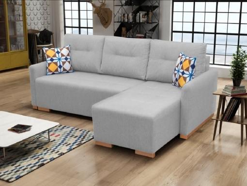 Sofá chaise longue cama (derecho) con arcón - Corsica. Color gris claro