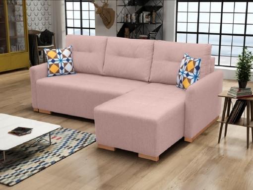 Sofá chaise longue cama (derecho) con arcón - Corsica. Color rosa