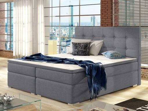 """Двуспальная кровать """"Бокс Спринг"""" 140 x 200 см с матрасом, изголовьем и топпером - Luisa. Светло-серая ткань"""