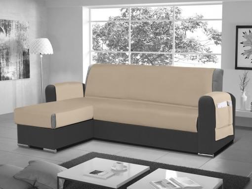 Funda salvasofá para sofá chaise longue - Cuvert 01. Color 'crema'. Esquina lado izquierdo
