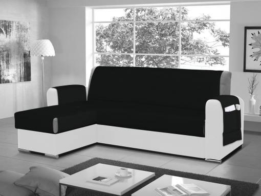 Funda salvasofá para sofá chaise longue - Cuvert 01. Color negro. Esquina lado izquierdo