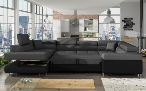 Cama y arcón abiertos del sofá en U moderno (2 chaiselongs) modelo Coventry. Esquina lado derecho