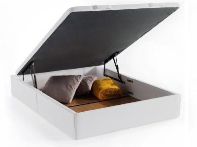 Double lift up bed with deep storage – Geneva. White faux leather