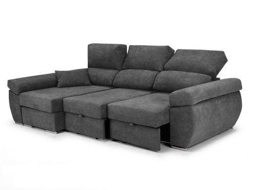 Sliding seats and reclining backrests of the Marbella sofa. Grey fabric. Chaise longue on the left