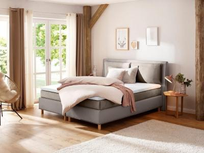 Bed with sprung mattress 180 x 200 cm, topper and headboard - Angelina