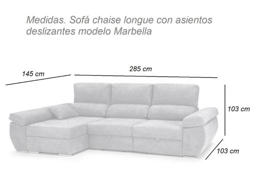 Dimensions. Chaise longue sofa bed with sliding seats, reclining backrests, storage – Marbella