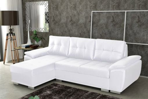 Sofá chaise longue cama en polipiel blanca - Kingston. Chaise longue lado izquierdo