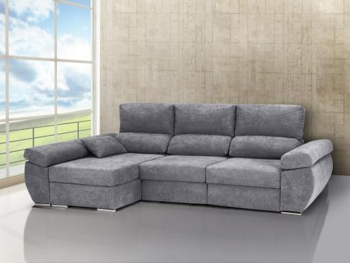 Chaise longue sofa bed with sliding seats, reclining backrests, storage – Marbella. Light grey fabric. Chaise longue on the left