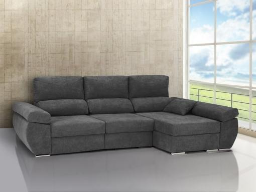 Chaise longue sofa bed with sliding seats, reclining backrests, storage – Marbella. Grey fabric. Chaise longue on the right