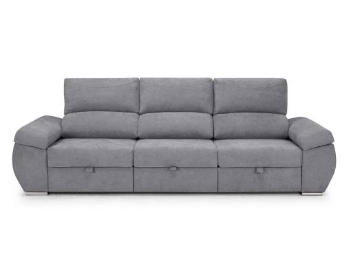 Large three seater sofa without chaise longue - Cartagena. Light grey fabric