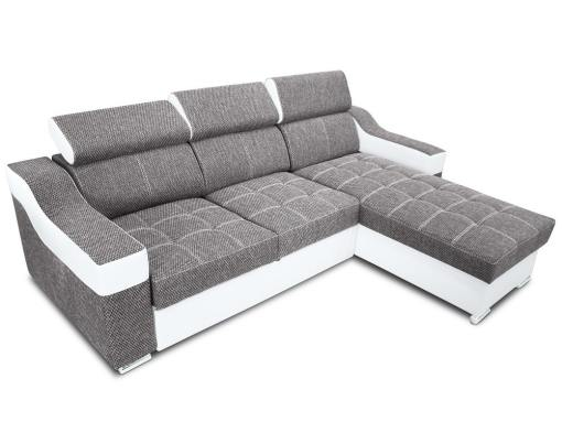 Chaise longue sofa bed with high headrests - Albi. Light grey fabric, white faux leather. Chaise longue mounted on the right