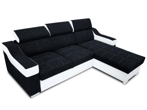 Chaise longue sofa bed with high headrests - Albi. Black fabric, white faux leather. Chaise longue mounted on the right