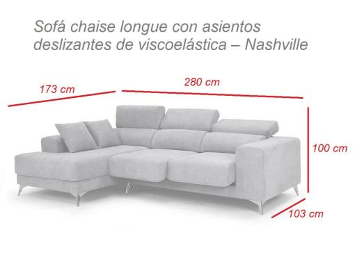 Dimensions of chaise longue sofa with sliding memory foam seats - Nashville. Chaise longue on the left