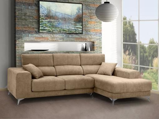 Chaise longue sofa with sliding memory foam seats - Nashville. Beige fabric. Chaise longue on the right