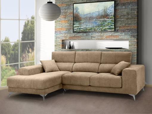 Chaise longue sofa with sliding memory foam seats - Nashville. Beige fabric. Chaise longue on the left