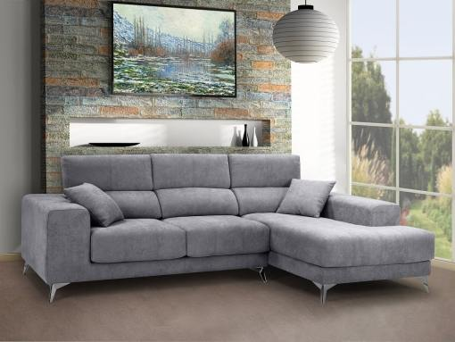 Chaise longue sofa with sliding memory foam seats - Nashville. Light grey fabric. Chaise longue on the right