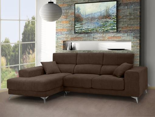Chaise longue sofa with sliding memory foam seats - Nashville. Brown fabric. Chaise longue on the left