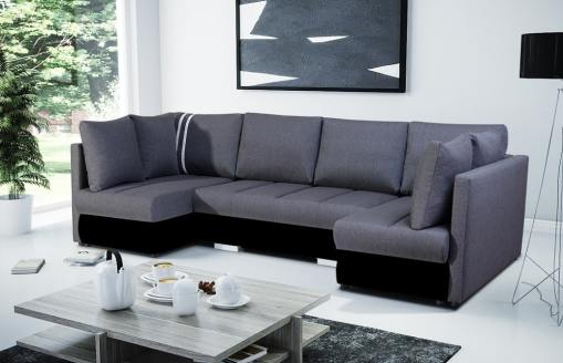 Sofá en forma de U pequeño con cama, 2 chaise longues y 3 arcones. Tela gris, polipiel negra - Bora