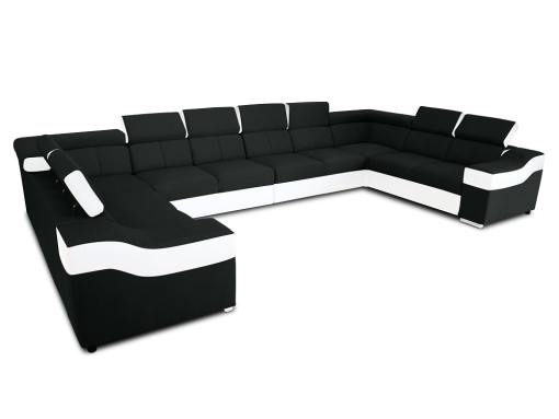"""10-местный диван в форме буквы """"П"""", XXXL - Paris. Чёрная ткань, белая искусственная кожа"""