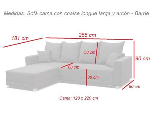 Medidas. Sofá cama con chaise longue larga y arcón - Barrie