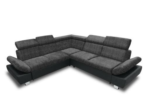 Sofá rinconera con cama, baúl extraíble (izquierdo) y reposabrazos reclinables - Reims. Gris oscuro con negro