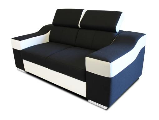 2 seater sofa with reclining headrests and wide armrests – Grenoble. Black and white
