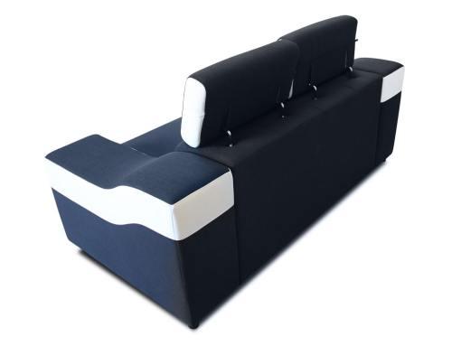 Vista detrás. Sofá dos plazas blanco y negro con reposacabezas reclinables - Grenoble