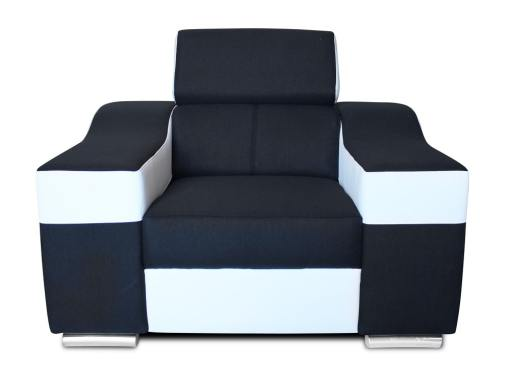 Front view. Armchair with reclining headrest and wide armrests - Grenoble. Black and white
