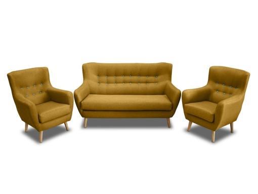 Conjunto de un sofá 2 plazas de diseño con botones y 2 sillones – Stockholm. Tela amarilla, botones azules