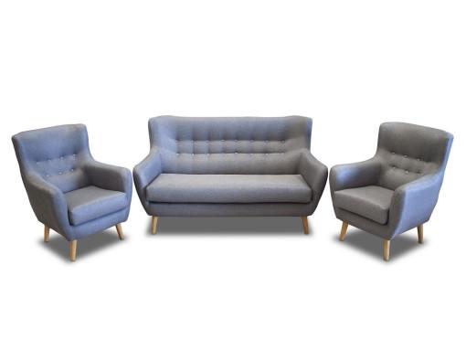 Conjunto de un sofá 2 plazas de diseño con botones y 2 sillones – Stockholm. Tela gris