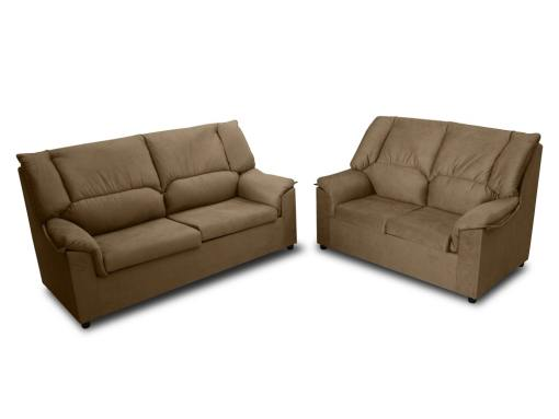 Inexpensive set of 3 seater sofa and 2 seater sofa - Nimes. Brown stain resistant fabric