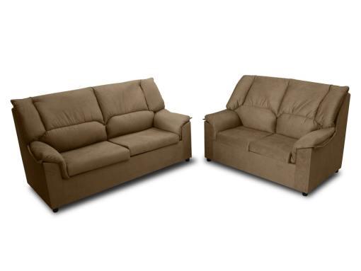 Недорогой комплект: 3-местный и 2-местный диваны - Nimes. Коричневая пятноустойчивая ткань