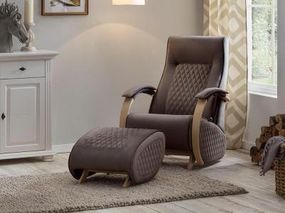 Glider rocking chair with a fixed base and footstool - Dubai. Brown fabric