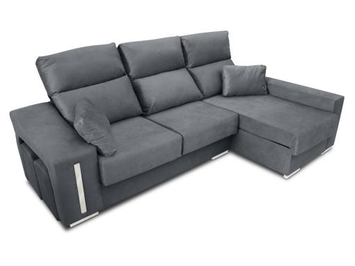 Chaise longue sofa Nantes with sliding seats in closed position. Grey fabric. Chaise longue on the right